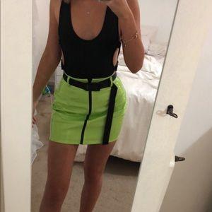 vinyl neon green skirt